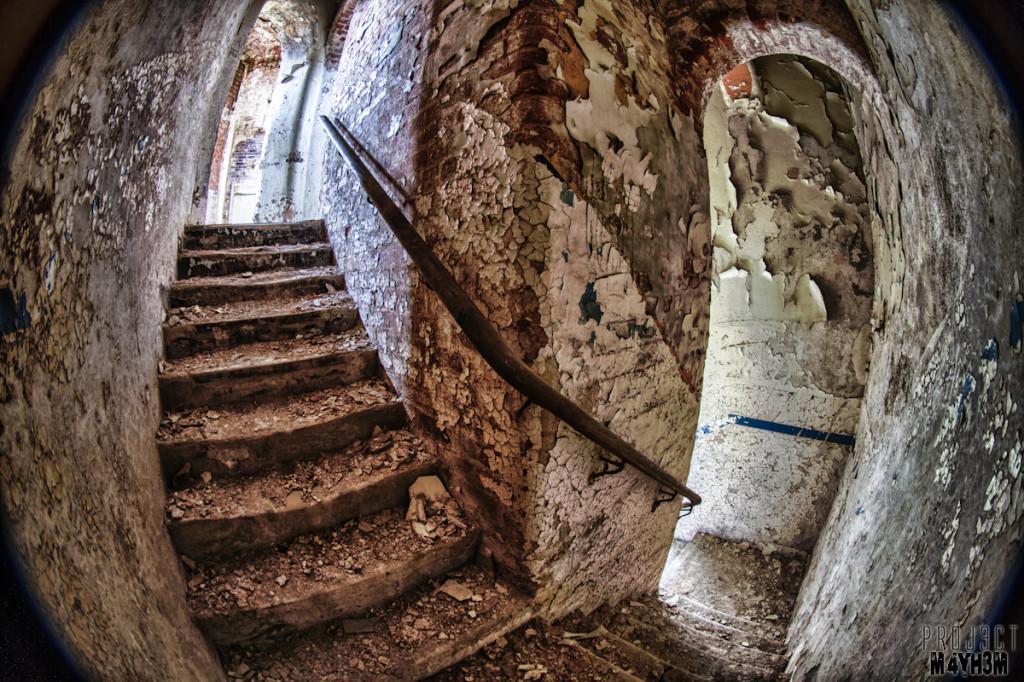 Stairway Fisheye - Lincolnshire County Pauper Lunatic Asylum