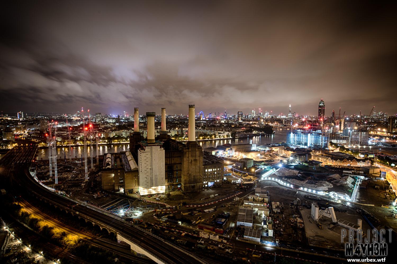 London Rooftops - Battersea Powestation at night