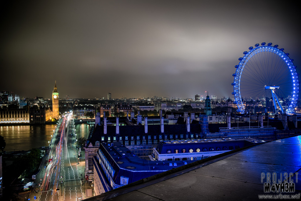 London Rooftops - The Palace of Westminster & The London Eye at night